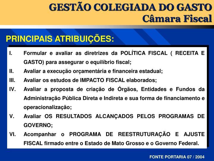 GESTÃO COLEGIADA DO GASTO