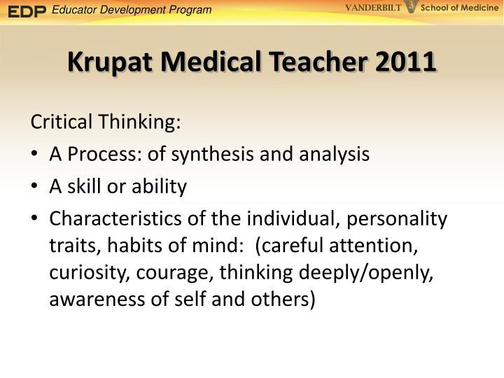 Krupat Medical Teacher 2011