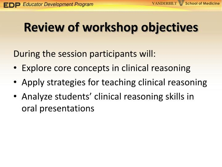 Review of workshop objectives