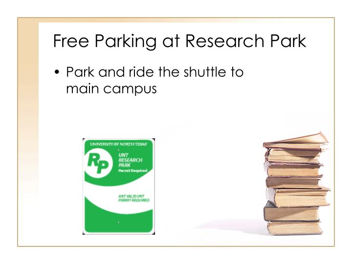 Free Parking at Research Park