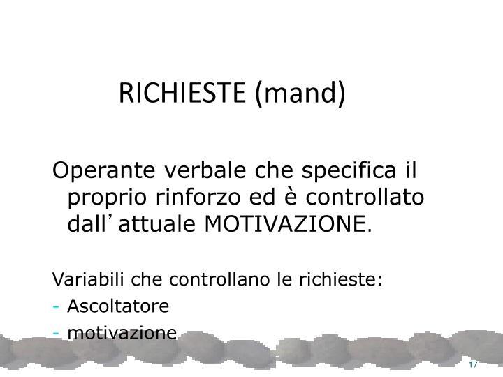 RICHIESTE (mand)