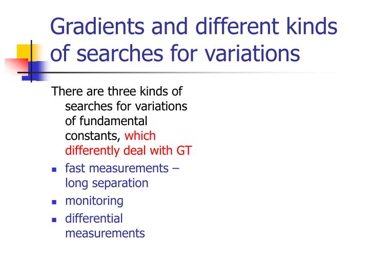 There are three kinds of searches for variations of fundamental constants,
