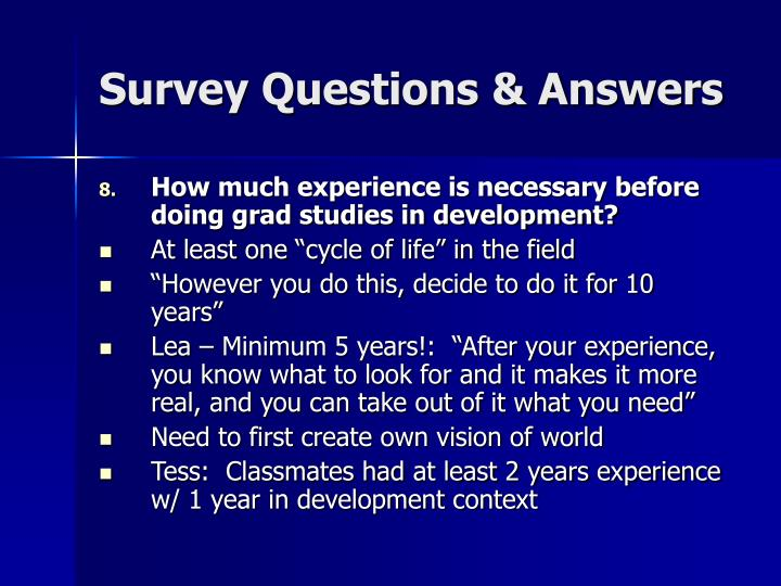 Survey Questions & Answers