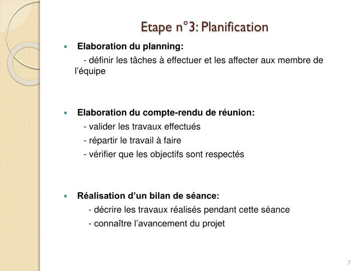 Etape n°3: Planification