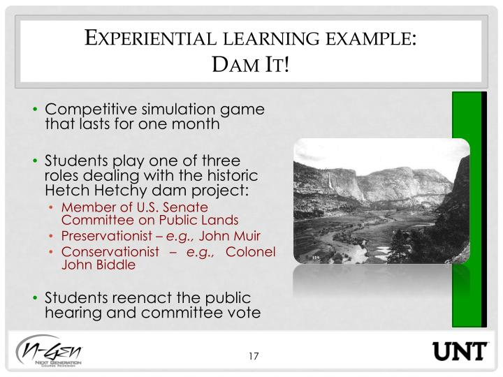 Experiential learning example: