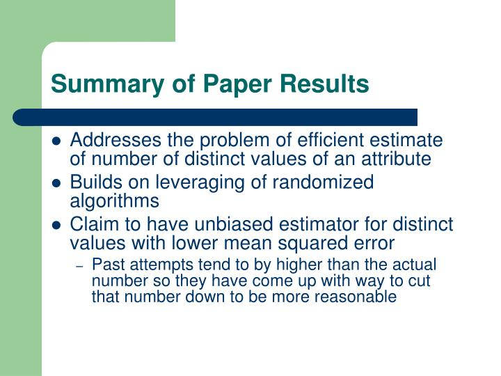 Summary of Paper Results