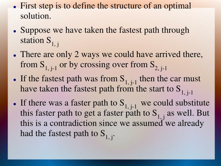 First step is to define the structure of an optimal solution.