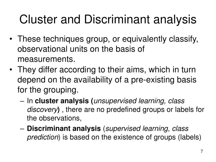 Cluster and Discriminant analysis