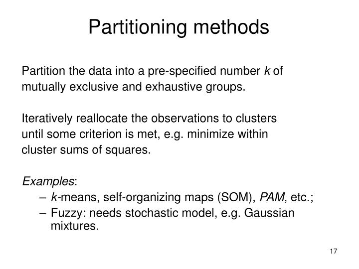 Partitioning methods