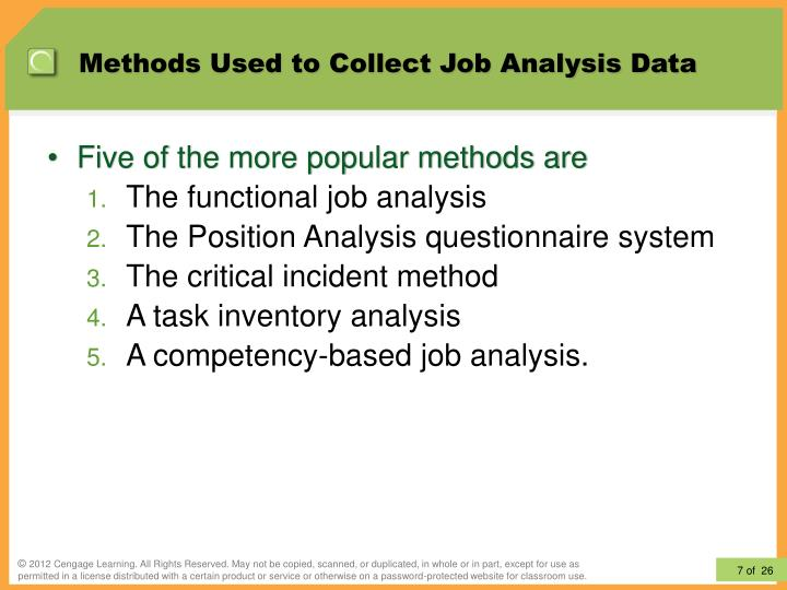 results from the job analysis method essay Chapter 9 uses of office job analysis -job analysis-the gathering of information about a specific job and determining the principal elements involved in performing it -job description-on outline of the information obtained from the job analysis questionaire method -questionaire.
