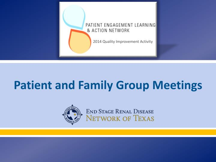 patient and family group meetings n.