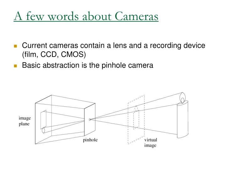 A few words about Cameras