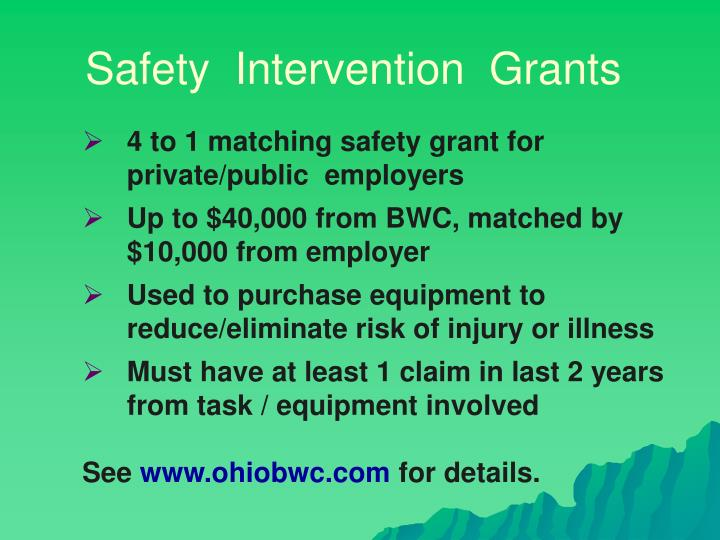 Safety  Intervention  Grants
