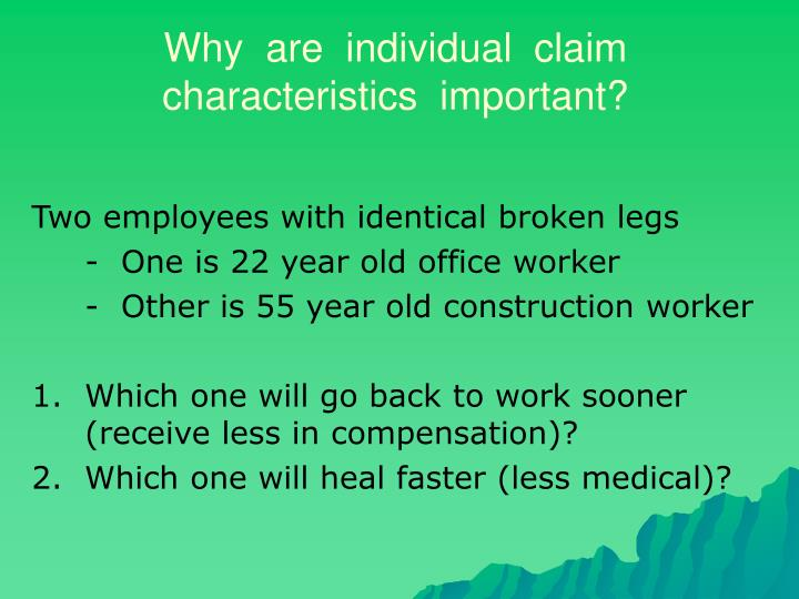 Why  are  individual  claim