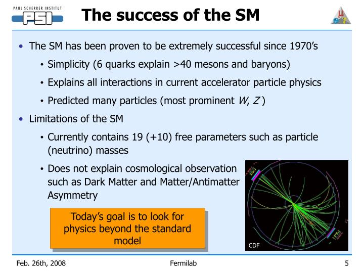 The success of the SM