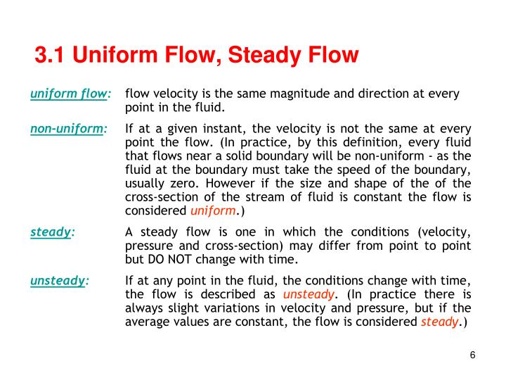 3.1 Uniform Flow, Steady Flow
