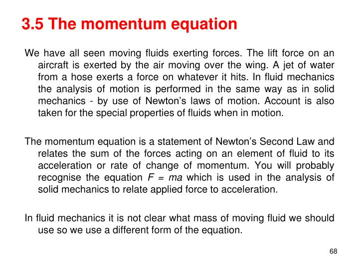 3.5 The momentum equation