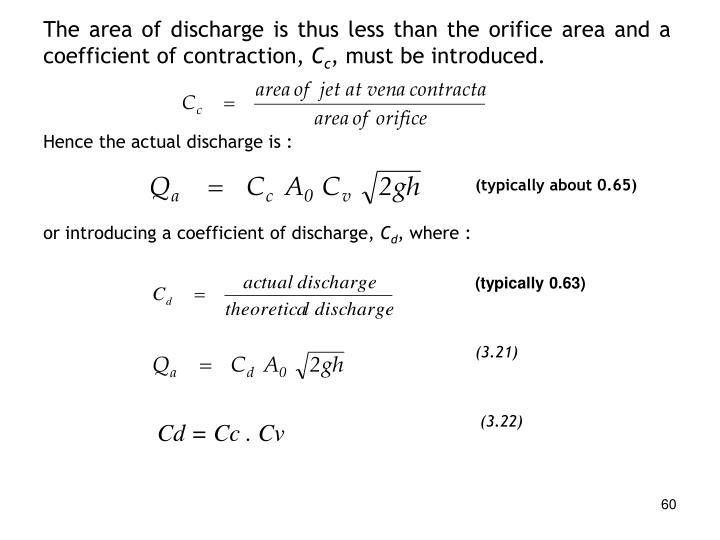 The area of discharge is thus less than the orifice area and a coefficient of contraction,