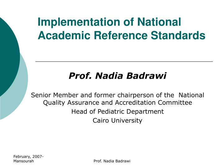 implementation of national academic reference standards n.