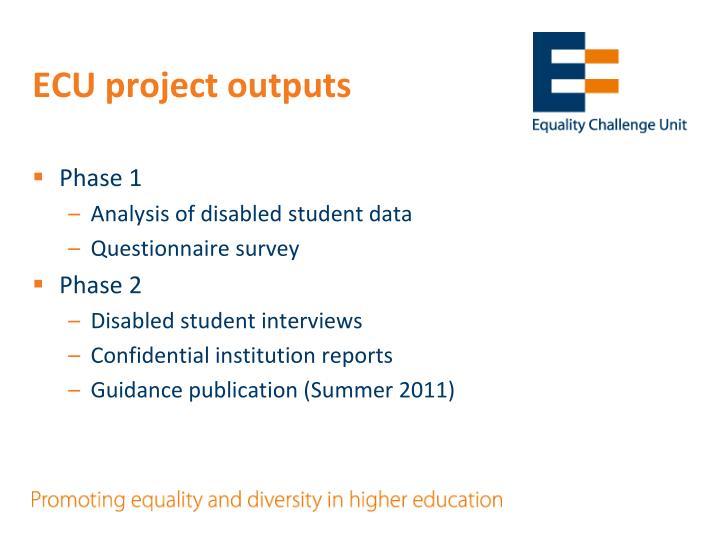 ECU project outputs