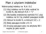 plan z u yciem indeks w