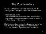 the zoni interface