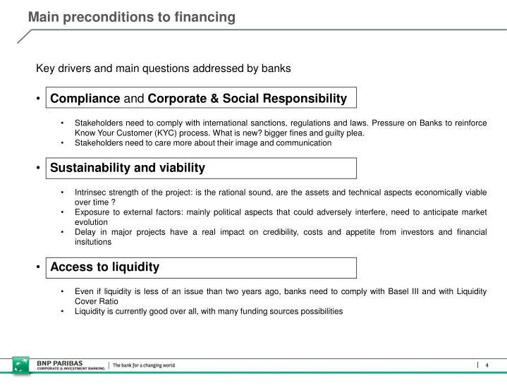 Main preconditions to financing