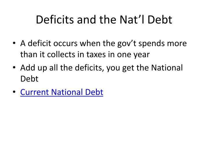 Deficits and the nat l debt
