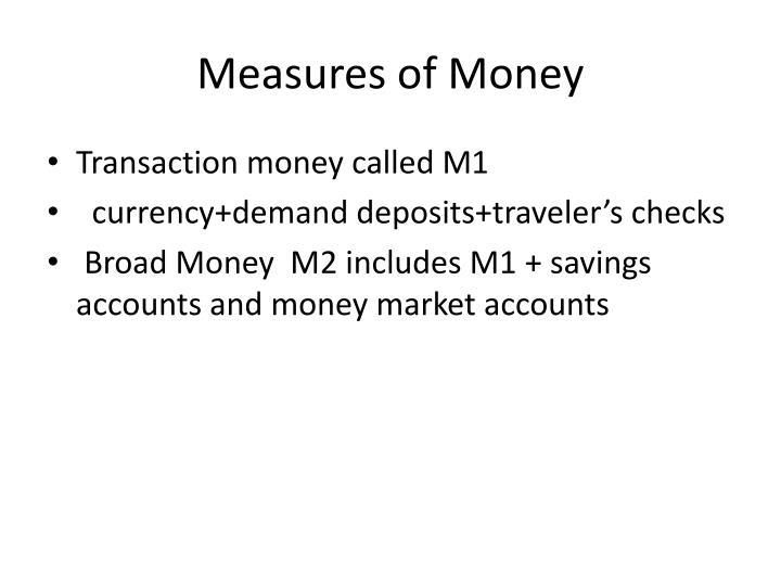 Measures of Money
