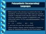 polysynthetic incorporating languages