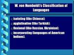 w von humboldt s classification of languages