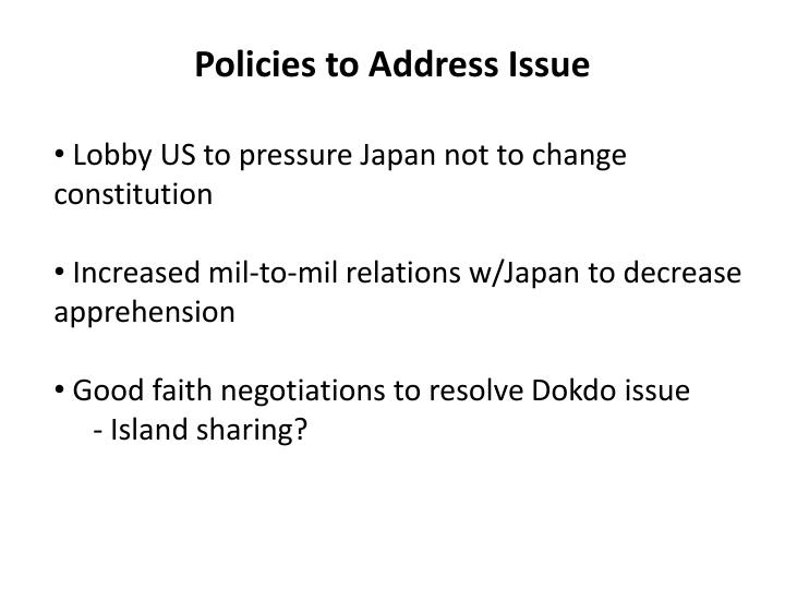 Policies to address issue