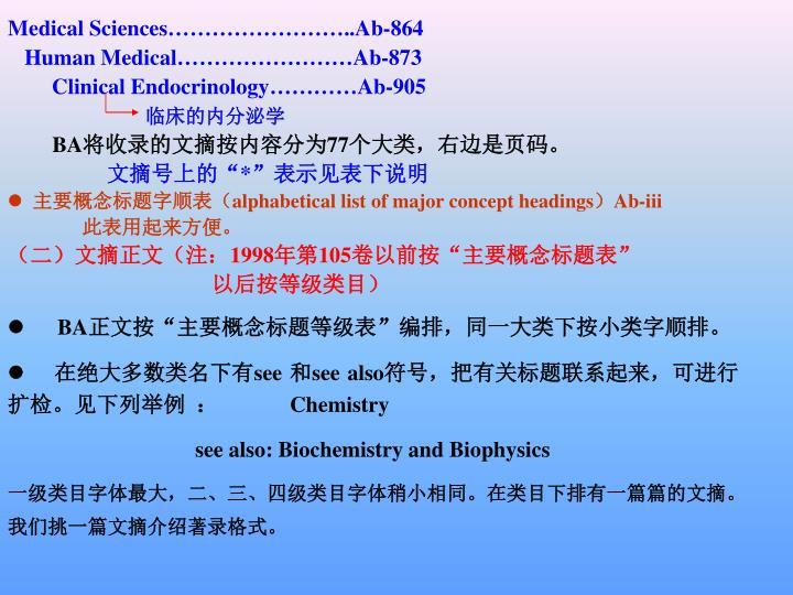 Medical Sciences……………………..Ab-864