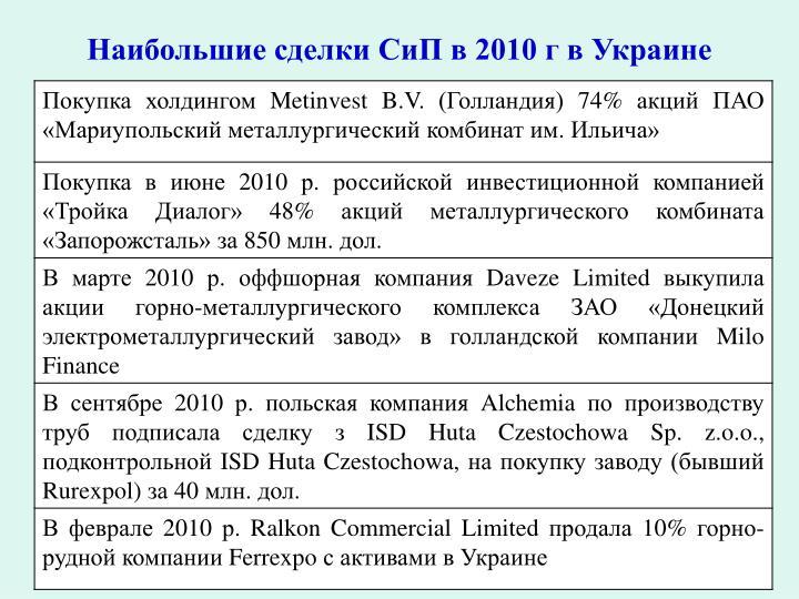 Наибольшие сделки СиП в 2010 г в Украине