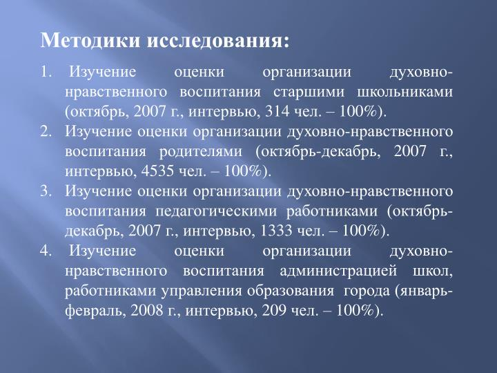 Методики исследования: