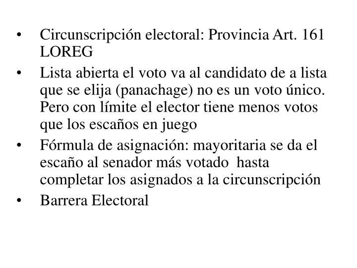 Circunscripción electoral: Provincia Art. 161 LOREG