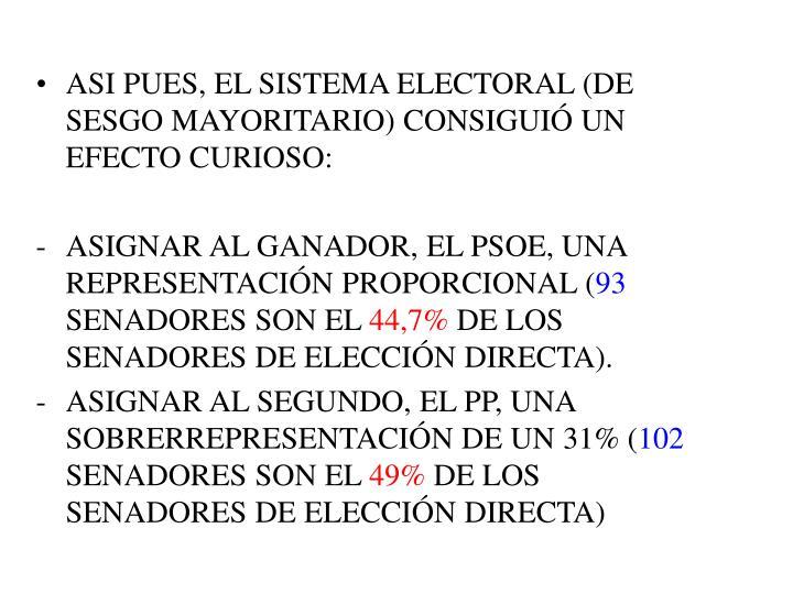 ASI PUES, EL SISTEMA ELECTORAL (DE SESGO MAYORITARIO) CONSIGUIÓ UN EFECTO CURIOSO: