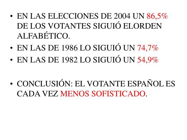 EN LAS ELECCIONES DE 2004 UN
