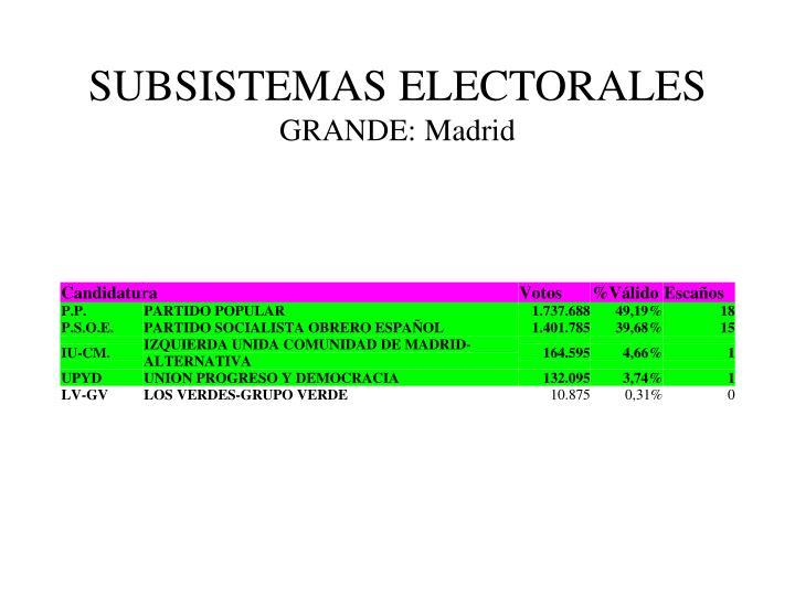SUBSISTEMAS ELECTORALES