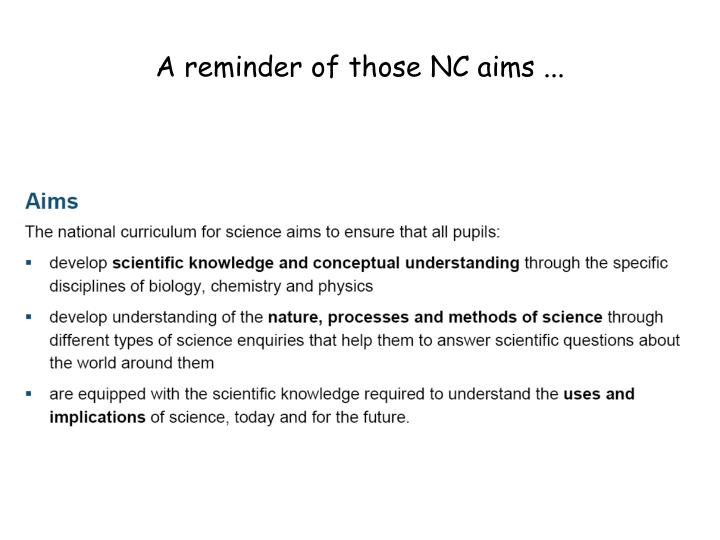 A reminder of those NC aims ...