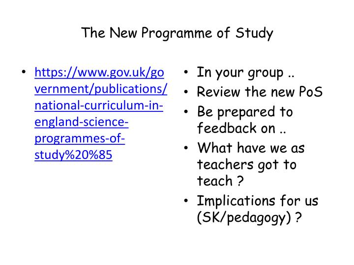 The New Programme of Study