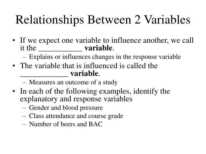 Relationships between 2 variables