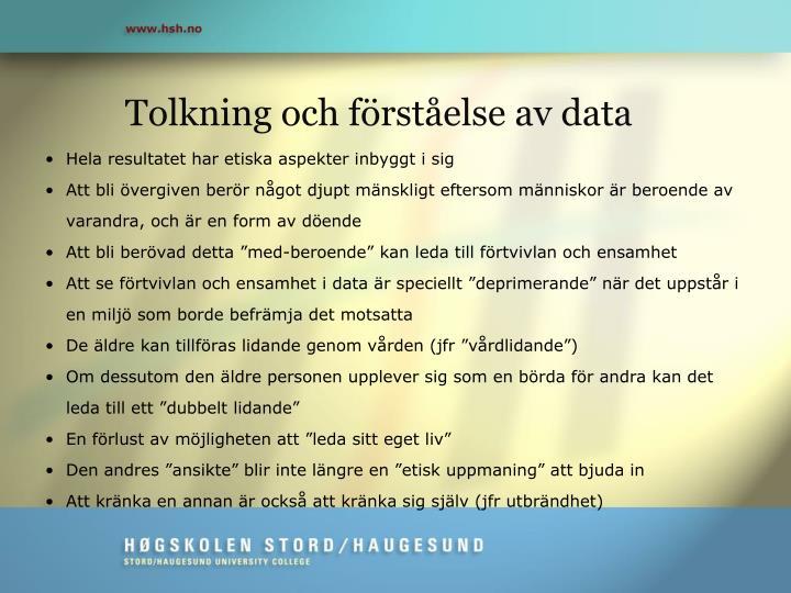 Tolkning och förståelse av data