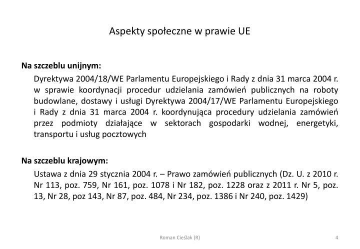 Aspekty społeczne w prawie UE