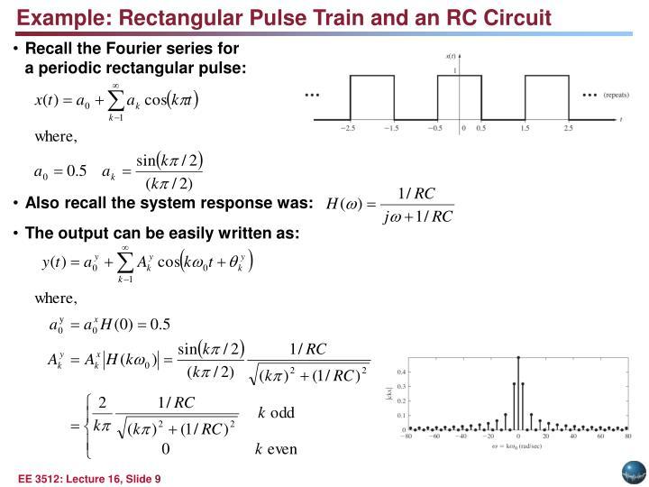 Example: Rectangular Pulse Train and an RC Circuit