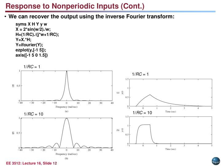 Response to Nonperiodic Inputs (Cont.)