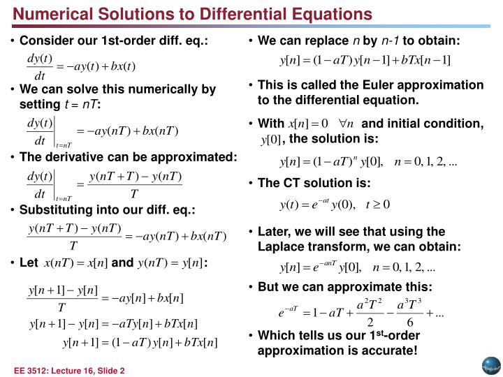 Numerical Solutions to Differential Equations