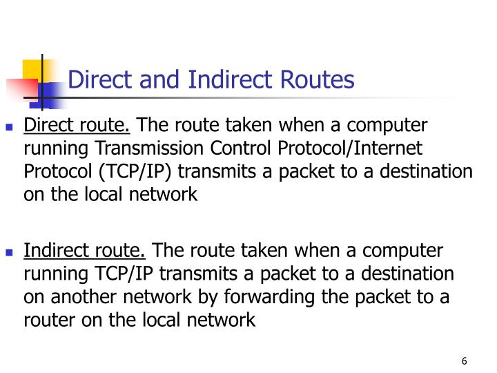 Direct and Indirect Routes