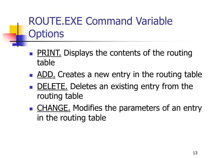 ROUTE.EXE Command Variable Options