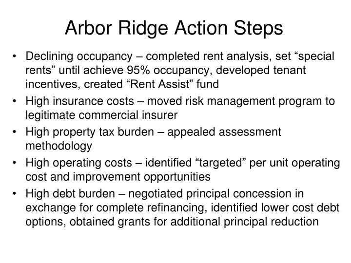 Arbor Ridge Action Steps